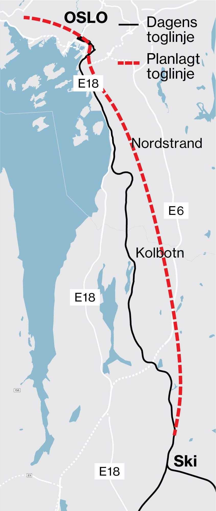 Østfoldbanen er den sorte linja fra Oslo til Ski. Nye Follobanen er den røde.