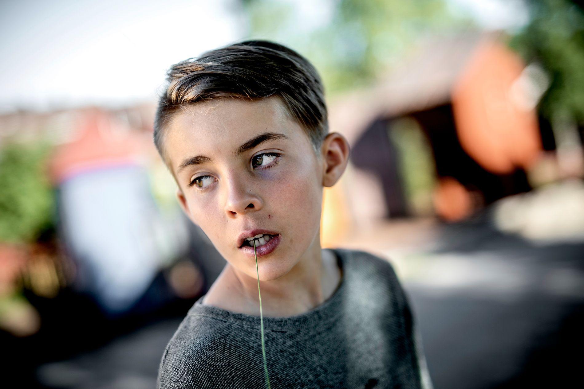 11-ÅRING: August er blitt mer mye mer trygg på seg selv  etter at han begynte på ny skole. Med et strå mellom tennene tar han dagene som de kommer.
