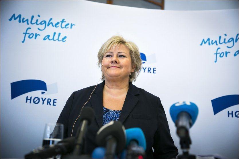 REKORDTRO: Rekordmange nordmenn tror Erna Solberg blir ny statsminister fra høsten. Foto: FOTO: JAN PETTER LYNAU