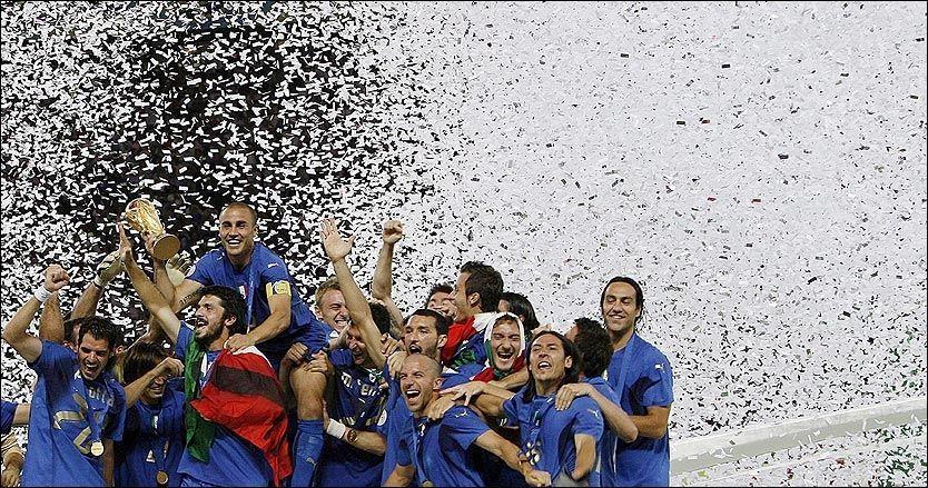 NRK UTEN VM: I 2006 var det Italia som kunne juble høyest under fotball-VM i Tyskland. Nå har NRK solgt fra seg rettighetene til lignende øyeblikk i 2010. Foto: EPA