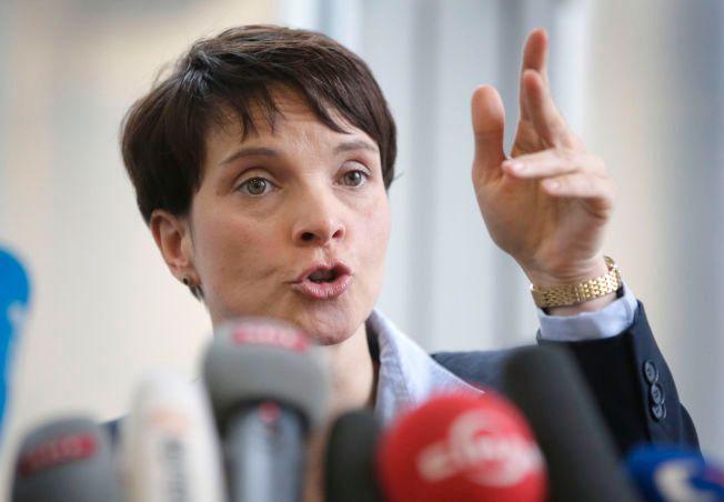 """KONTROVERSIELL: Hun blir beskyldt for å representere """"mørke krefter"""" og høyreekstremister. I dag måtte Frauke Petry fra partiet Alternative für Deutschland svare på spørsmål fra pressen i Berlin."""