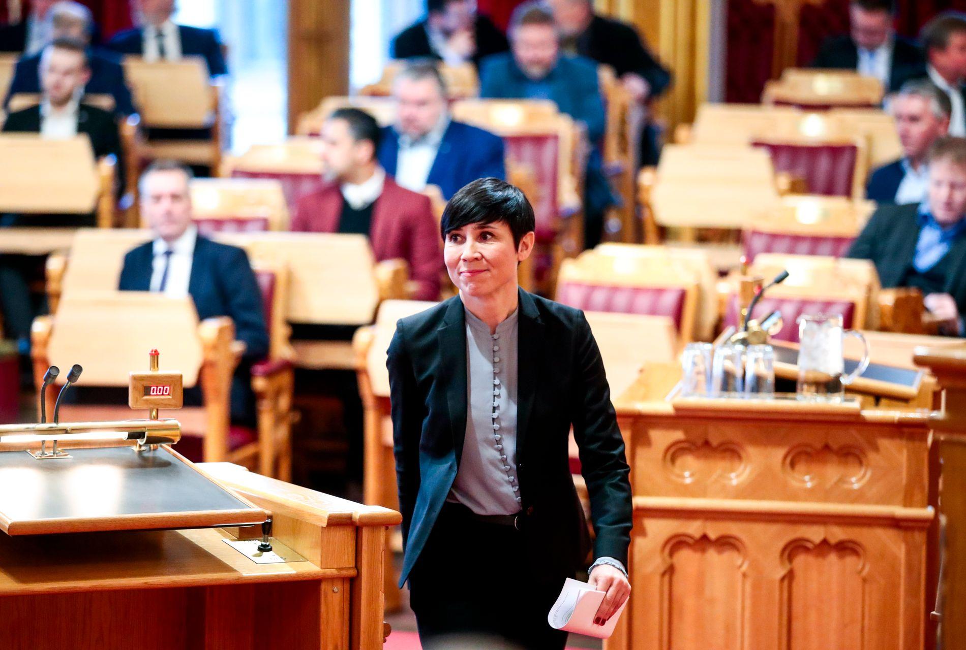 MÅTTE SVARE: Utenriksminister Ine Eriksen Søreide i Stortinget tirsdag.