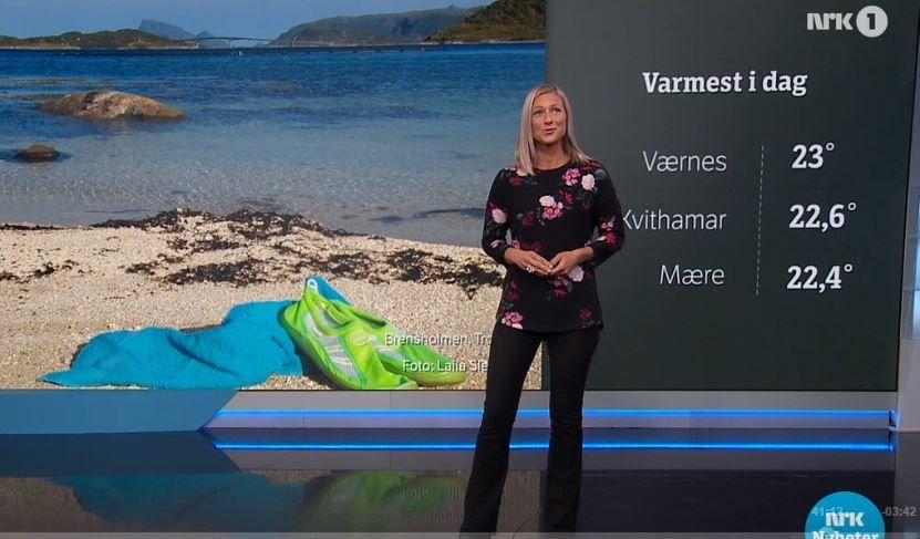 TRØBLETE SENDING: Siri Wiberg ledet onsdagens værsending på NRK uten at kartene dukket opp på skjermen bak henne.