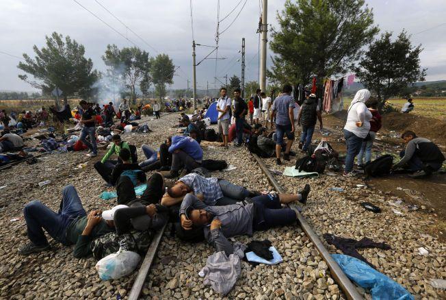 SOV UTE: Syriske flyktninger sover på jernbanelinjen på grensa mellom Makedonia og Hellas.