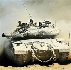 SPENT: Israelsk stridsvogn ved Kibbutz Mafalsim rett utenfor den nordlige delen av Gazastripen. Foto: AP.
