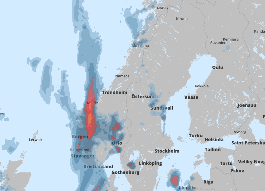 KRAFTIGE REGNBYGER: Det er meldt oransje farevarsel i Hordaland, Nord-Rogaland, Sogn og Sunnfjord.