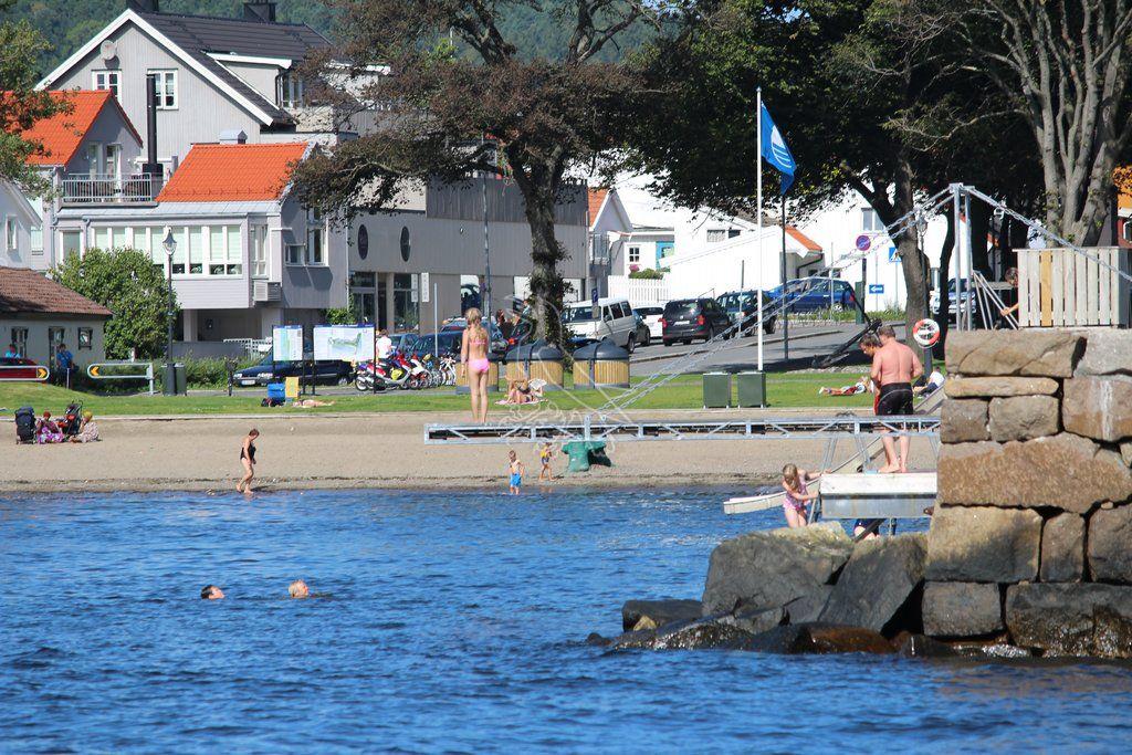HOPP I DET: Sjøbadet i Moss.