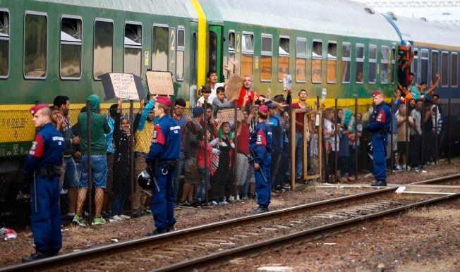 NEKTET Å FORLATE TOGET: Etter å ha blitt lurt inn i toget som tok dem til en interneringsleir utenfor Budapest, nektet flyktningene å gå av. Til slutt vant de frem med protesten og fikk lov til å reise videre mot Tyskland.