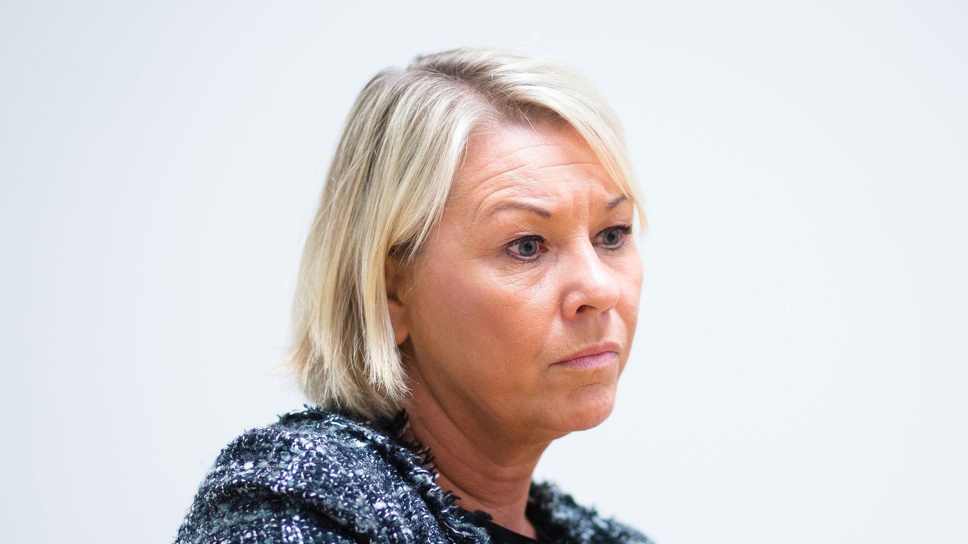 MISFORNØYD: Næringsminister Monica Mæland (H) ble ikke imponert over mandagens redegjørelse i skatteparadis-saken fra DNB-styret.