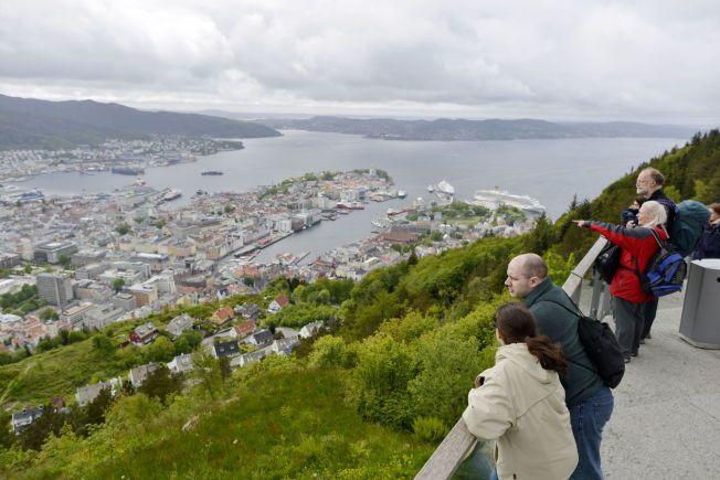 OVERSIKT: Bergen sentrum, sett fra Fløyen.