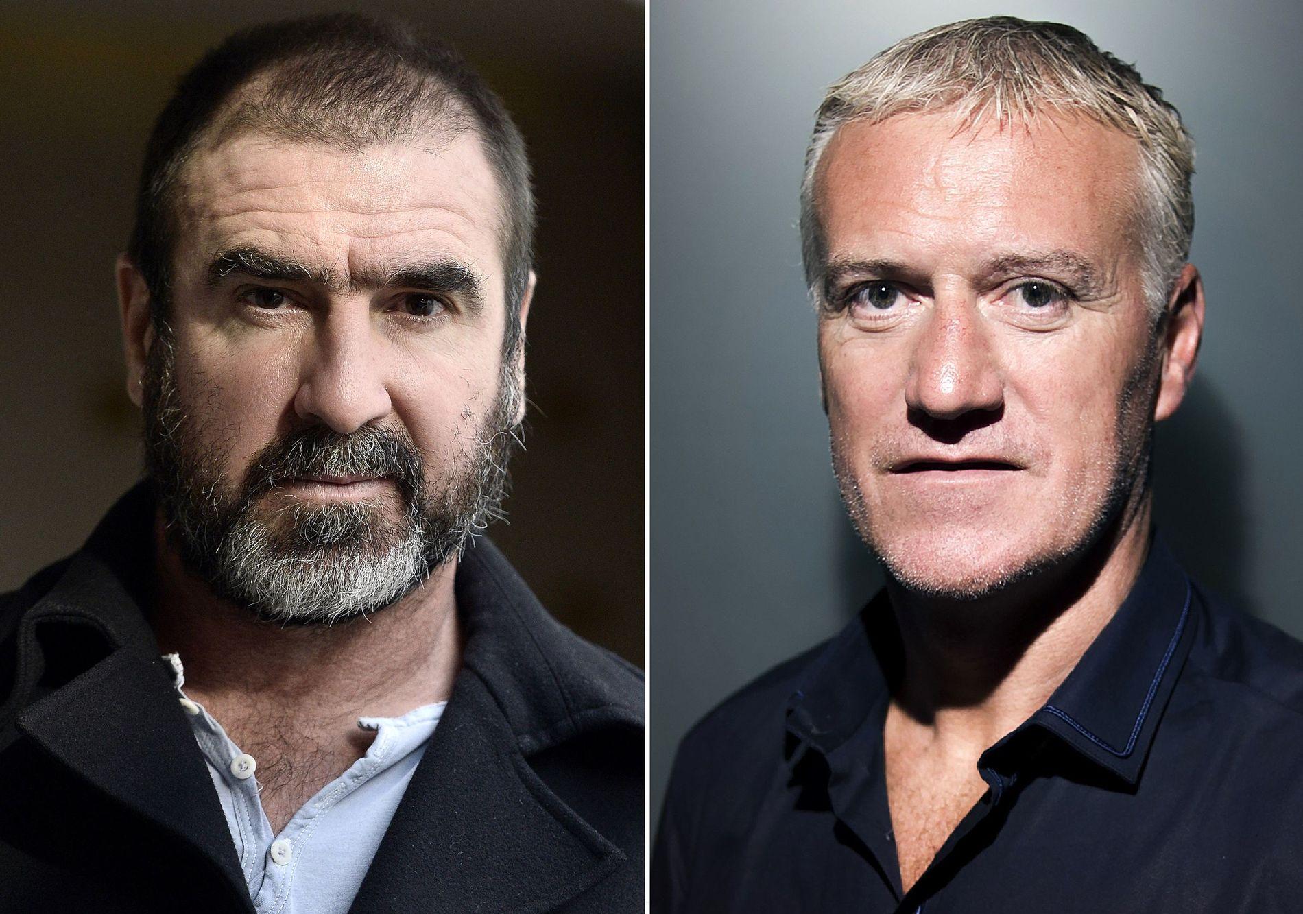 BESKYLDTE SJEFEN: Manchester United-legenden Eric Cantona (t.v.) beskyldte den franske landslagssjefen Didier Deschamps for rasisme før EM i fjor. Nå er han saksøkt for ærekrenkelse.