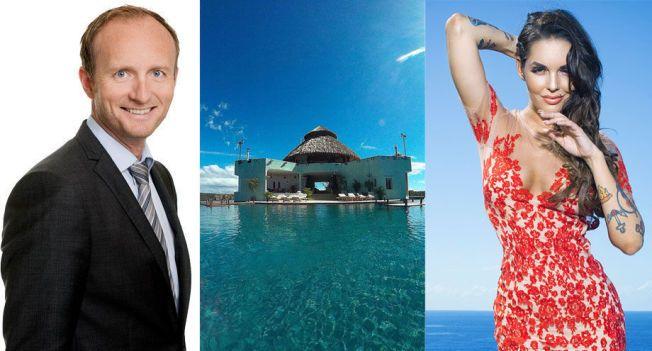 SKEPTISK: Advokat Thor-Arne Wullum kritiserer avtalen deltagerne i omstridte «Paradise Hotel» må signere før de sjekker inn. T.h.: Programleder Triana Iglesias.
