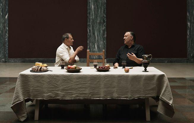 MUNTRE menn med alvorlig agenda: Svein Tindberg og Bjørn Eidsvåg «Etterlyst: Jesus», som garantert vil bli en publikumssuksess på Det norsk teatret.