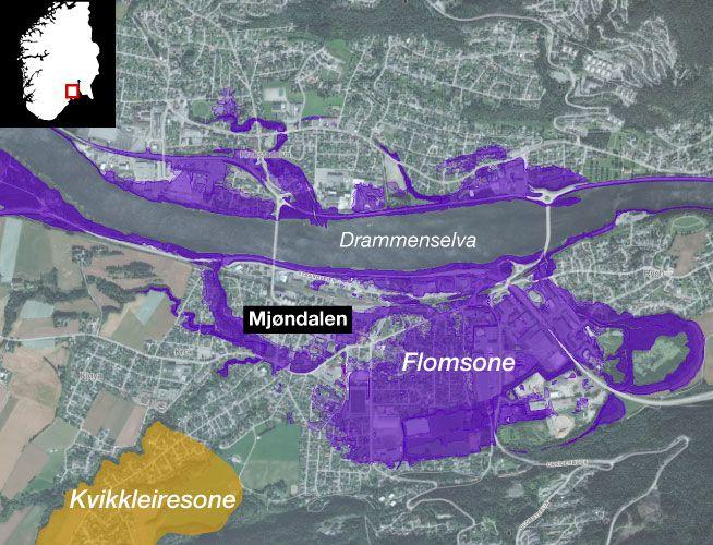 FLOMSONER: I kartet kan du også se flom- og kvikkeleire-soner. Mjøndalen i Nedre Eiker er et av de mest kostbare områdene å sikre.