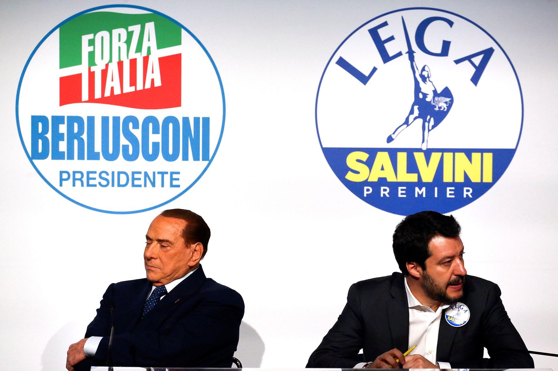 HVA NÅ?: Høyrekoalisjonen blir størst, men Silvio Berlusconi taper stort overfor Legas Matteo Salvini.