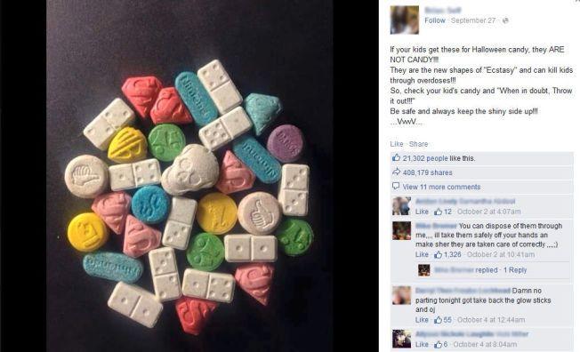 SER FRISTENDE UT: Piller med narkotiske stoffer blir kamuflert som godteri. Dette bildet har blitt delt hyppig på Facebook de siste dagene.