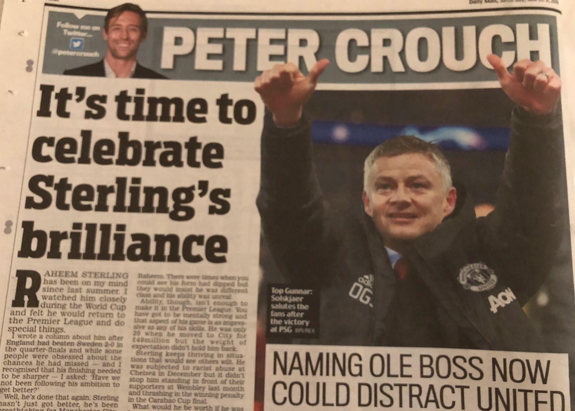 VENT: Peter Crouch mener United burde vente til sommeren med å ansette Solskjær, skriver han i Daily Mail.