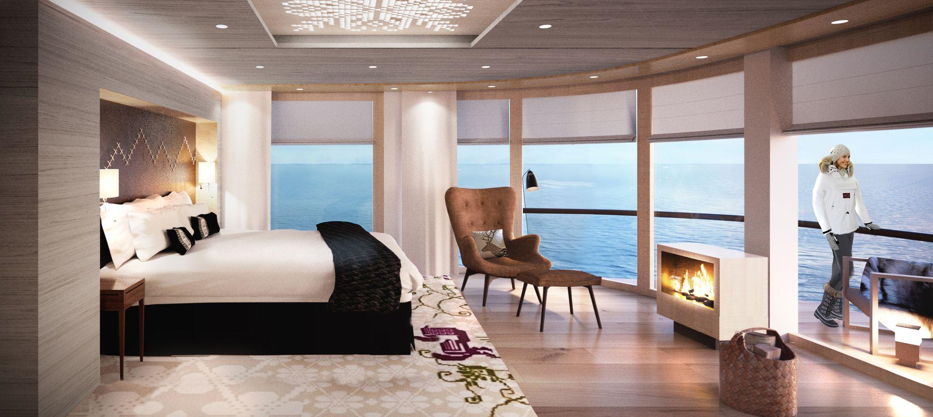 SUITER: Hjørnesuitene på de nye skipene får panoramavinduer på flere sider, egen peis og ekstra store private balkonger.