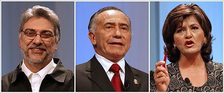 KANDIDATENE: De tre kandidatene til presidentembetet i Paraguay. Fra venstre: Fernando Lugo, Lino Oviedo og Blanca Ovelar. Foto: AFP