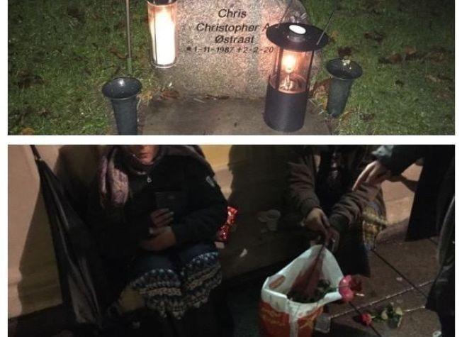 SOLGTE GRAV-ROSER: Arne Blokhus og kona Marianne Opsahl er fortvilet etter noen stjal rosene de hadde lagt på graven til Mariannes sønn, Christoffer Alexander.