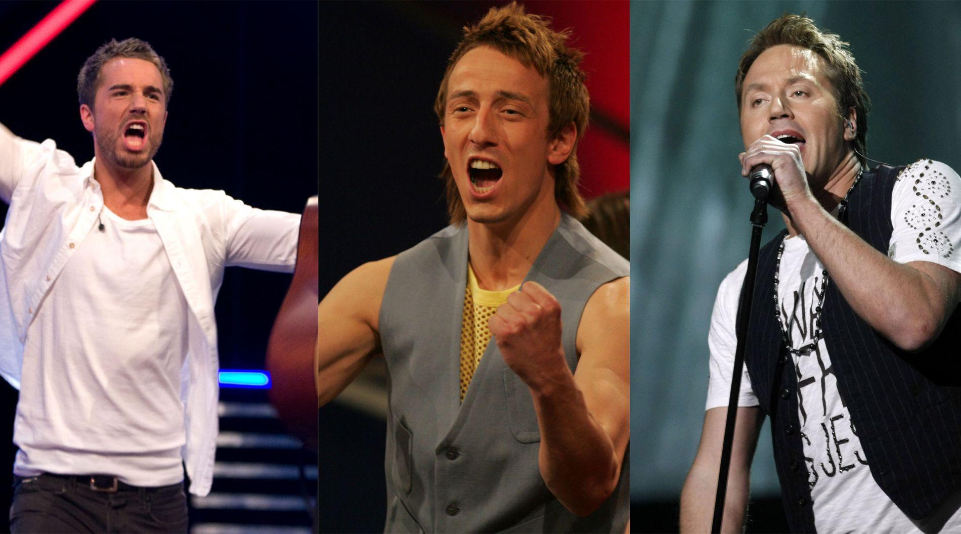 TV-TALENTER: Tommy Fredvang (t.v.) ble kjendis gjennom «X Factor», mens både Kjartan Salvesen og Glenn Lyse har vunnet «Idol». Her avbildet i henholdsvis 2009, 2004 og 2007.