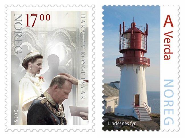 «NOREG»: I forbindelse med regentjubileet kom dette frimerket på nynorsk, mens Lindesnes-frimerket stammer fra serien om norske fyr.