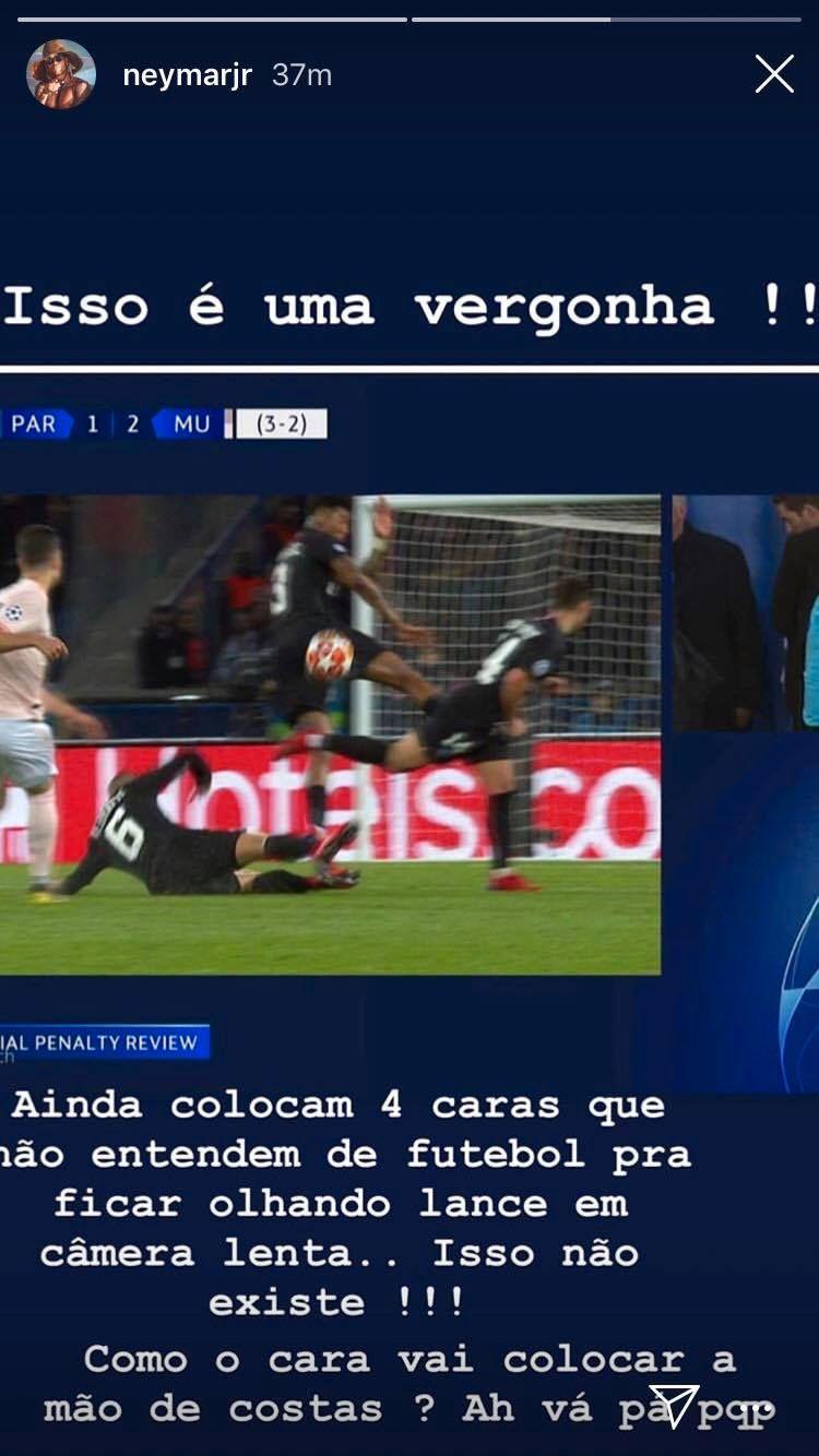 Neymar tok til Instagram, hvor han skjelte ut dommerne etter at PSG røk ut av Champions League.