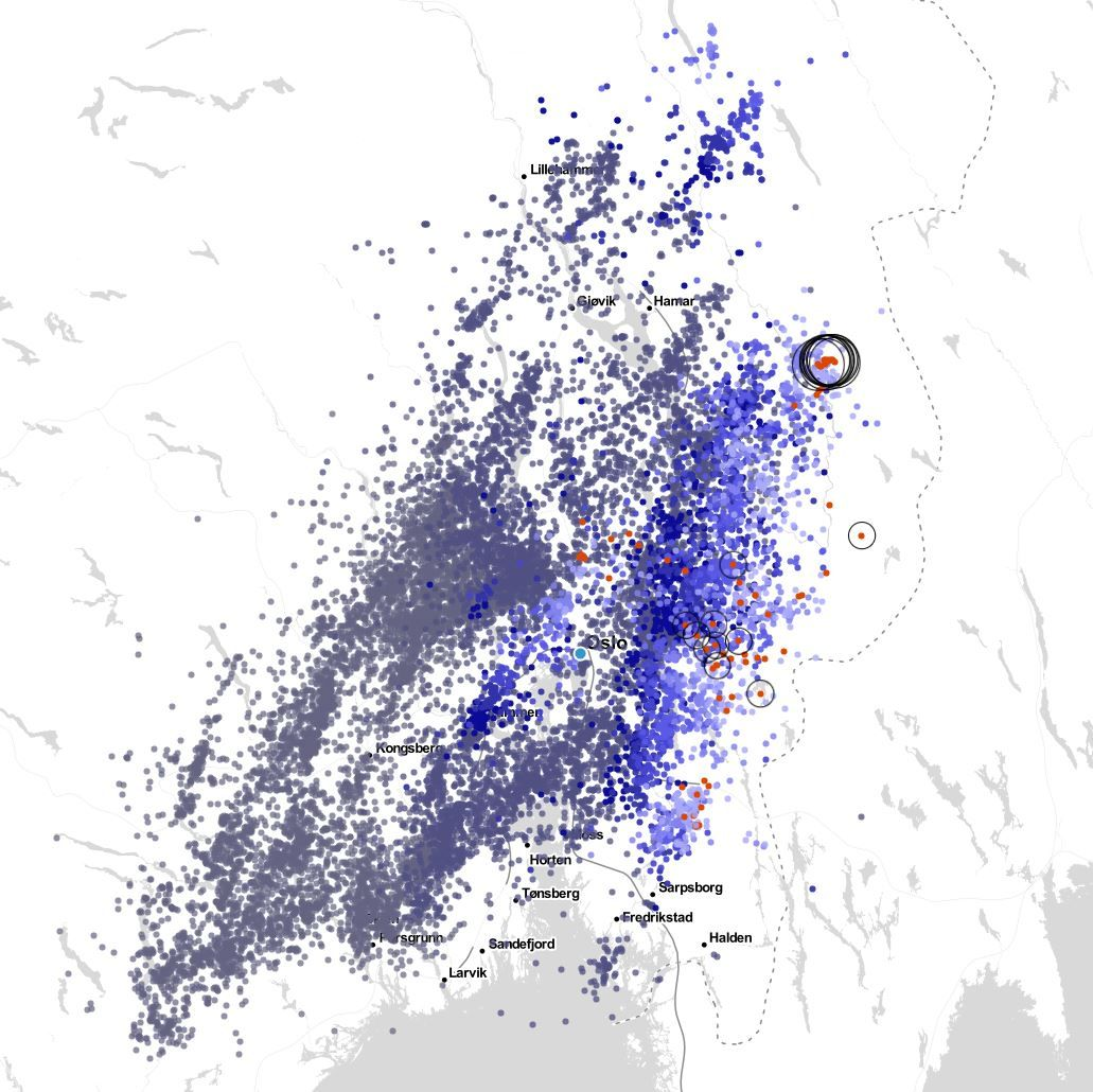 MYE LYN: Mellom 01 og 07 er det registrert nærmere 17.000 lyn på Østlandet.