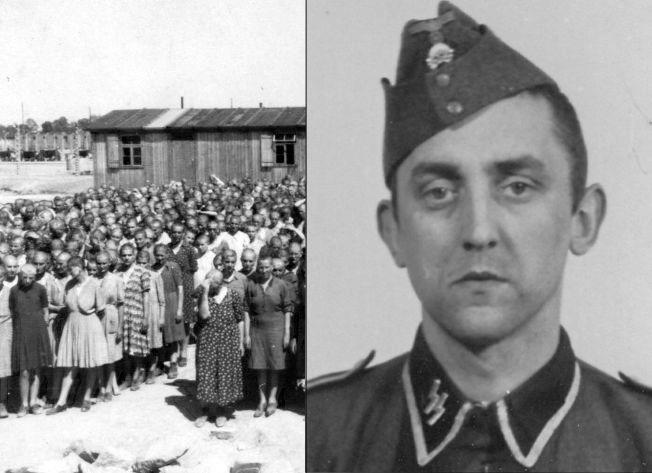 JOBBET I UTRYDDELSESLEIER: Her er et arkivfoto av Hubert Z tatt da han jobbet i konsentrasjonsleiren. Ved siden av sees et arkivbilde tatt inni kvinnedelen av Auschwitz-Birkenau i januar 1945.