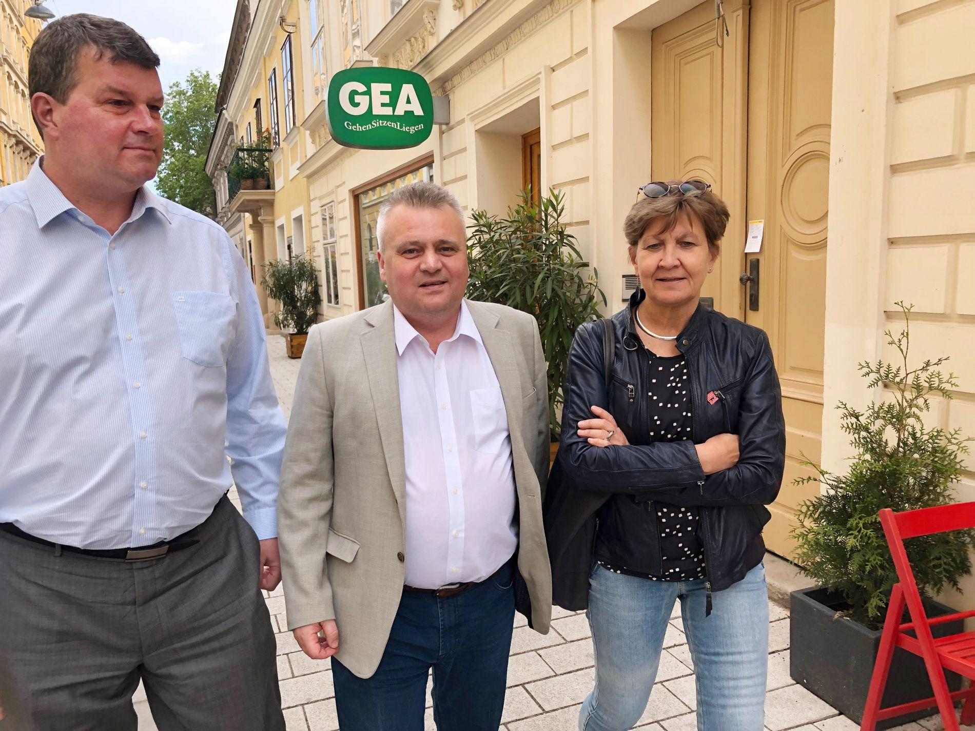 KLAR MELDING FRA WIEN: LO-leder Hans-Christian Gabrielsen (f.v.), Fellesforbund-leder Jørn Eggum og Fagforbund-leder Mette Nord er i Wien på kongress.