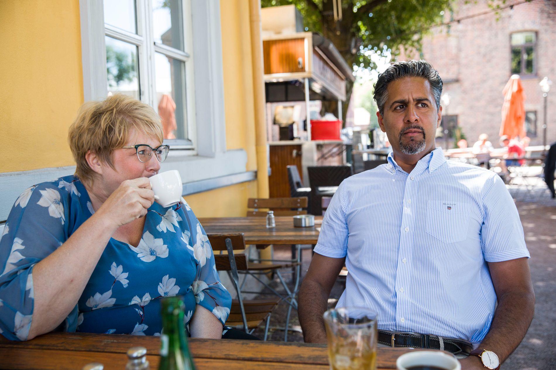 PROVOSERT: Venstre-toppene går hardt ut mot justisminister Sylvi Listhaug i sosiale medier. Her er Grande og Raja fotografert av VG i juli.