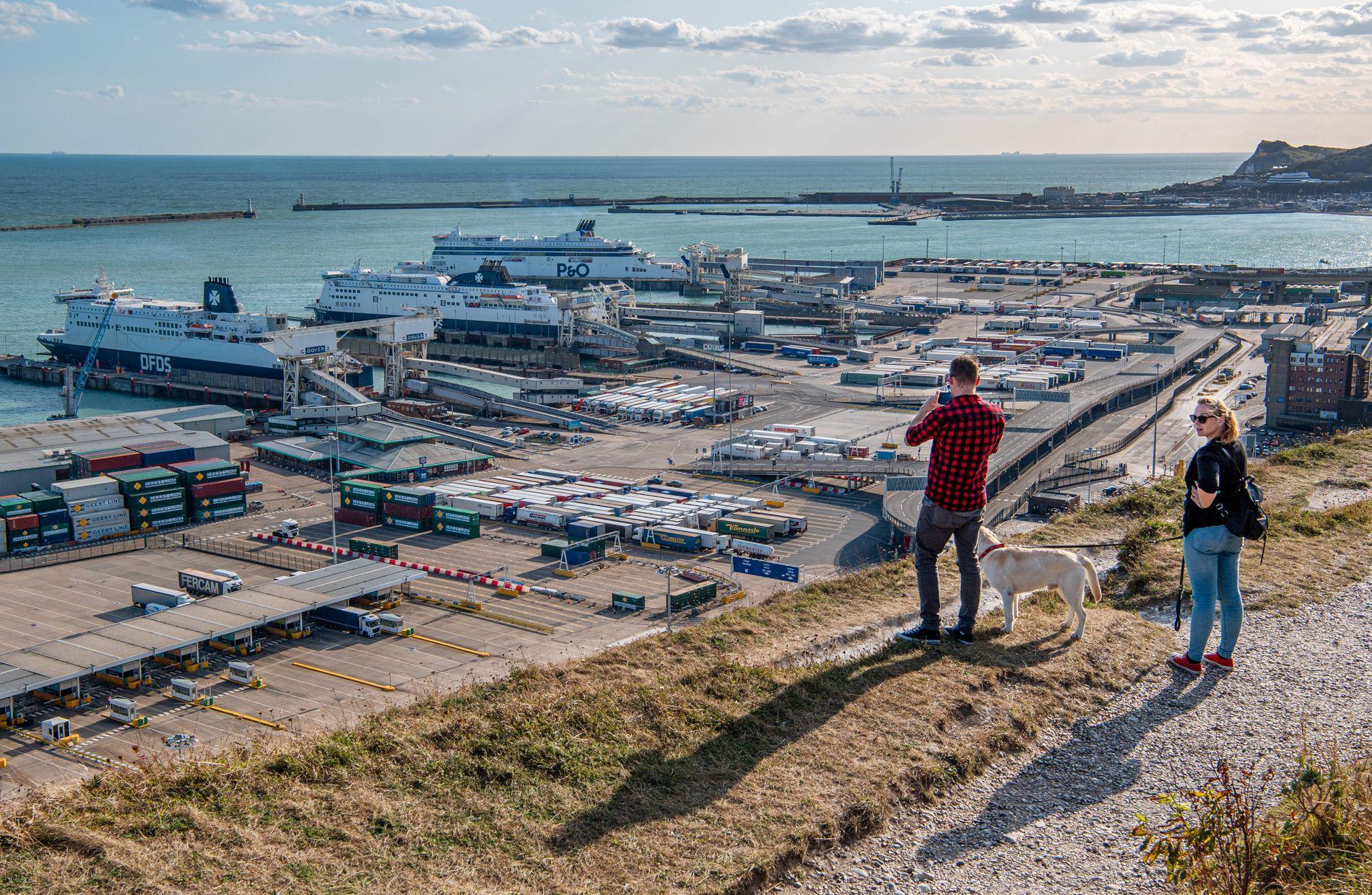 UTSIKTEN FRA KLIPPENE: På havnen i Dover lurer alle på hvordan brexit vil ramme dem.