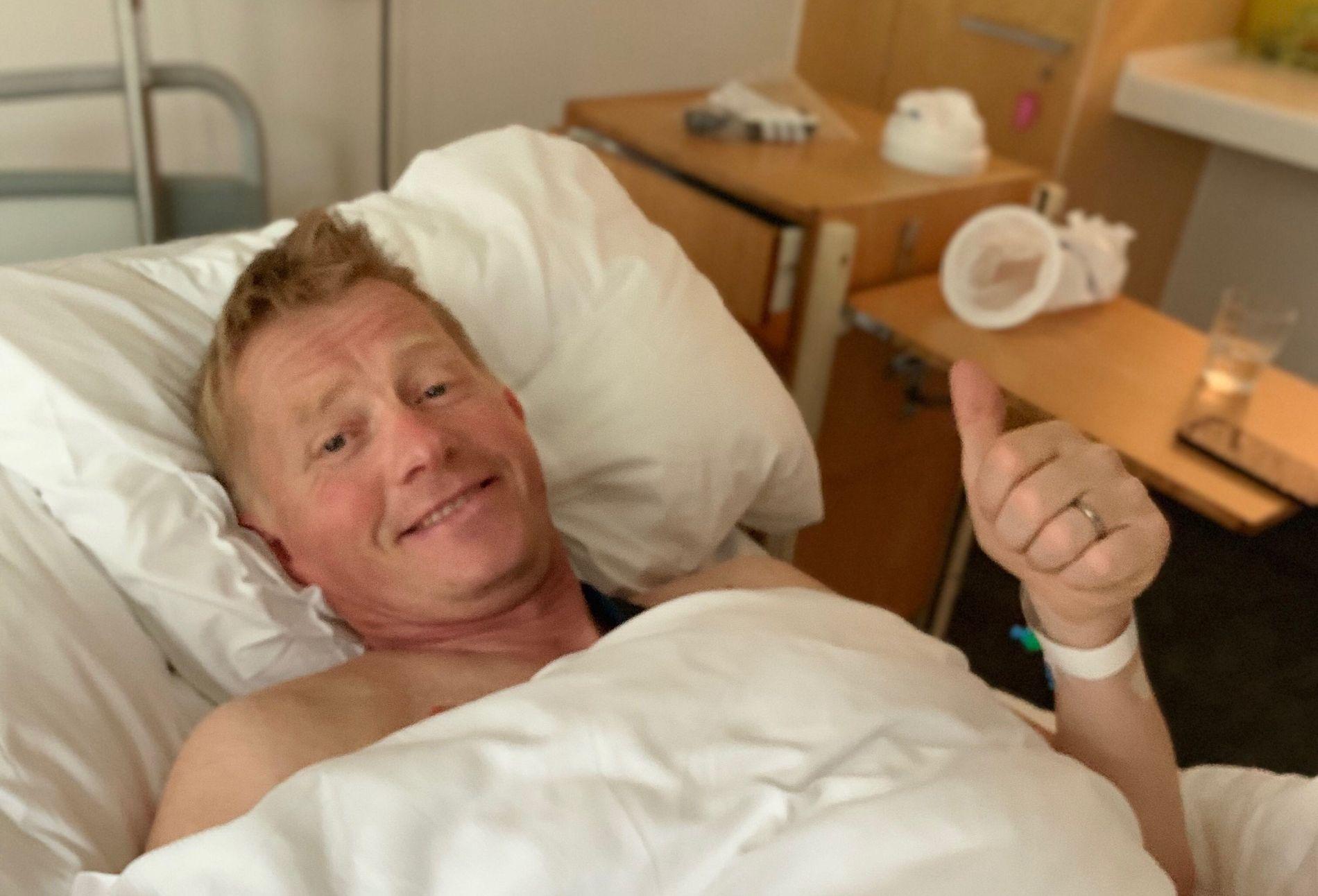 I SYKESENGEN: Pål Anders Ullevålseter havnet på sykehus med hjernerystelse, kragebein- og ribbeinsbrudd etter et MC-kurs på Gol i Hallingdal i helgen.