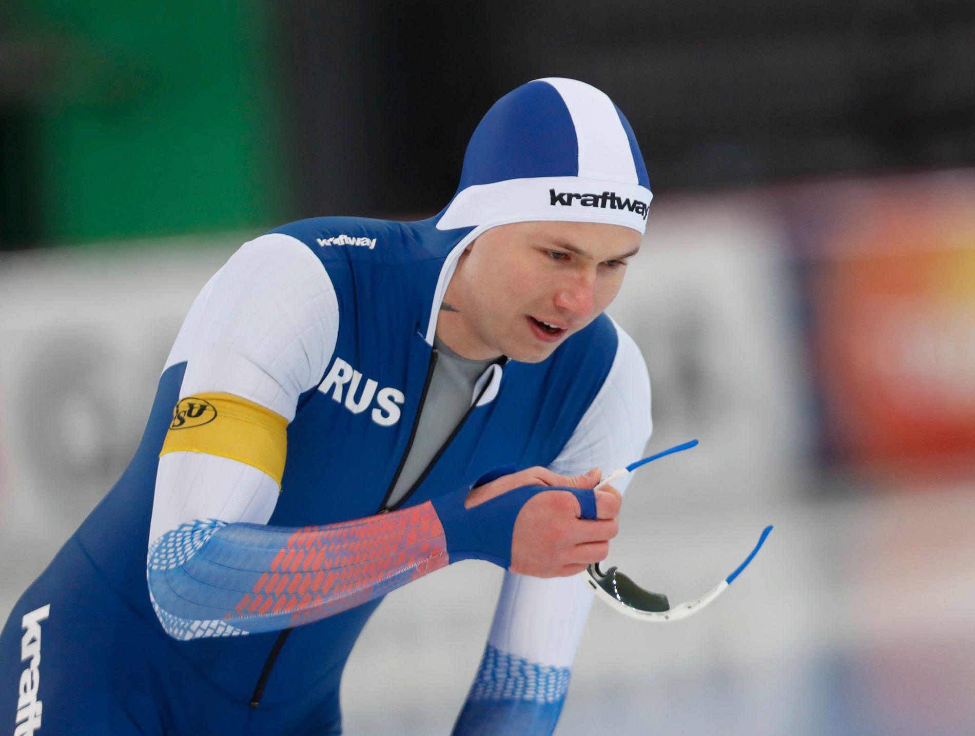 HISTORISK: Pavel Kulizjnikov under verdenscupløpet på Hamar forrige måned.