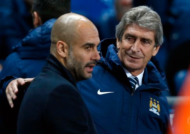 ÉN UT, ÉN INN: Manuel Pellegrini (t.h.) får ikke fortsette som Manchester City-manager etter denne sesongen. Pep Guardiola (t.v.) tar over stafettpinnen.