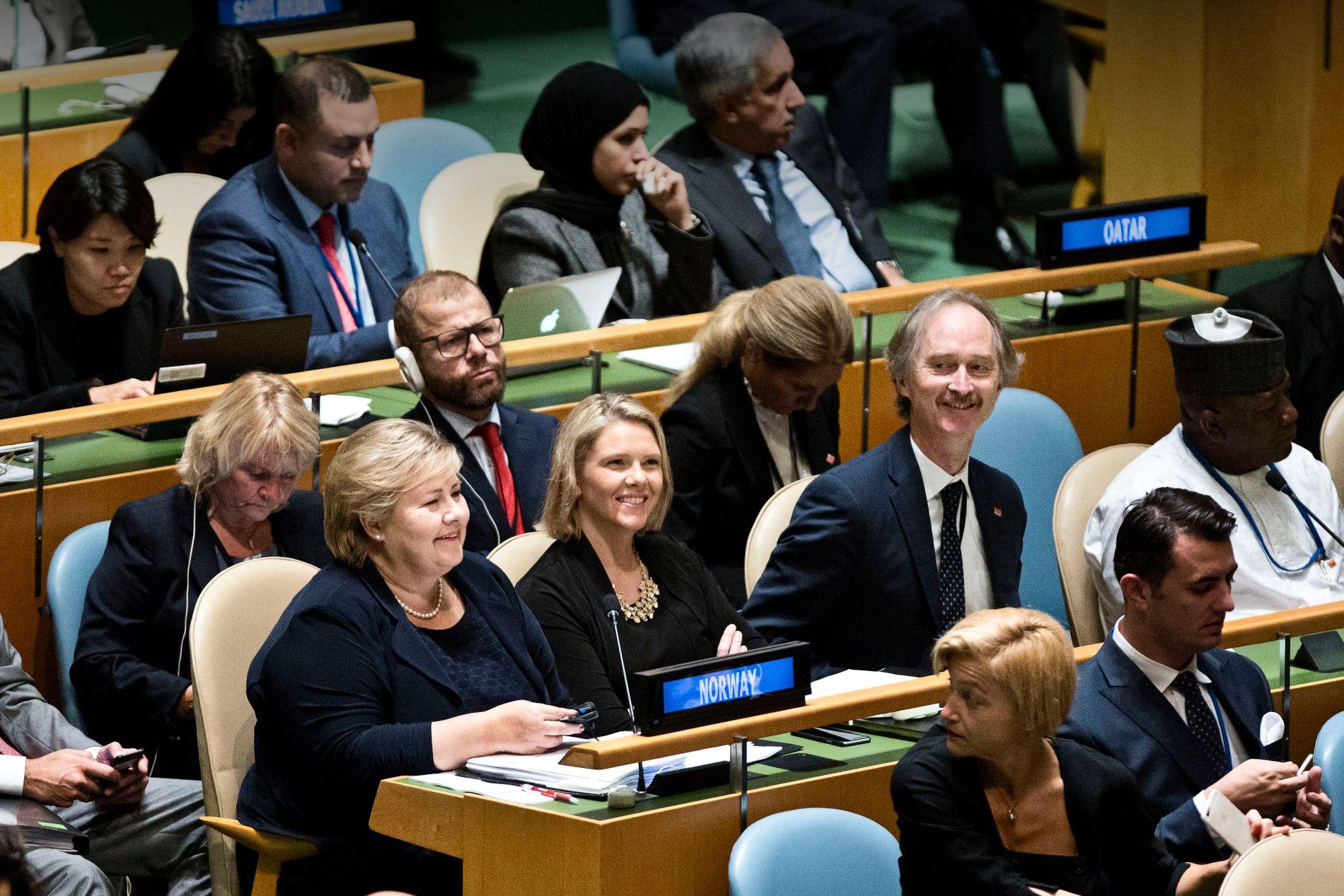 SYLVI LISTHAUG OG ERNA SOLBERG I FN HØSTEN 2016: Her ga de sin tilslutning til dokumentet som fastslo at migrasjon gjør verden til et bedre sted.