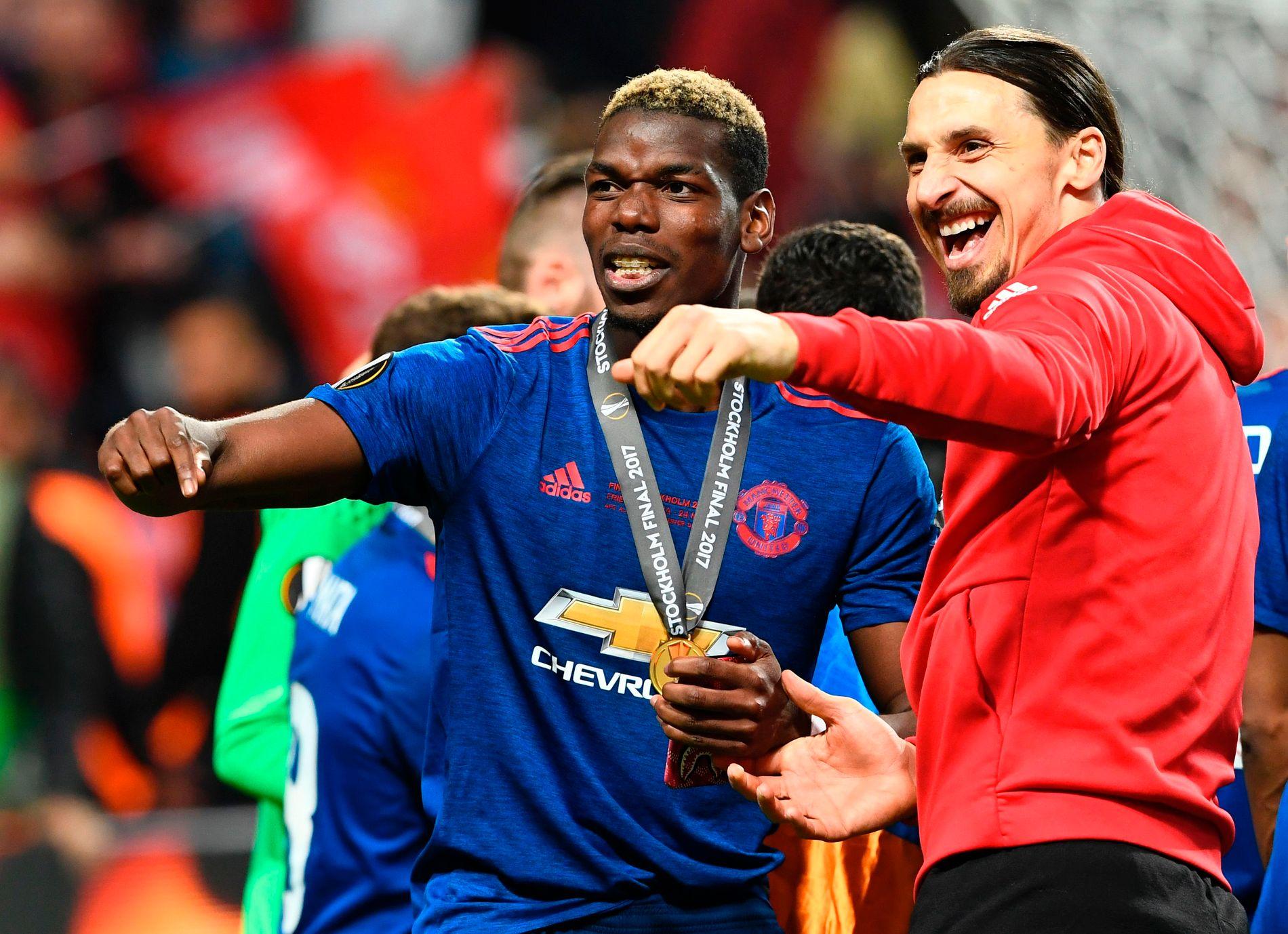 GAMLE LAGKAMERATER: Paul Pogba og Zlatan Ibrahimovic spilte sammen i Manchester United under José Mourinho. Her jubler de etter at Europa League ble vunnet våren 2017.