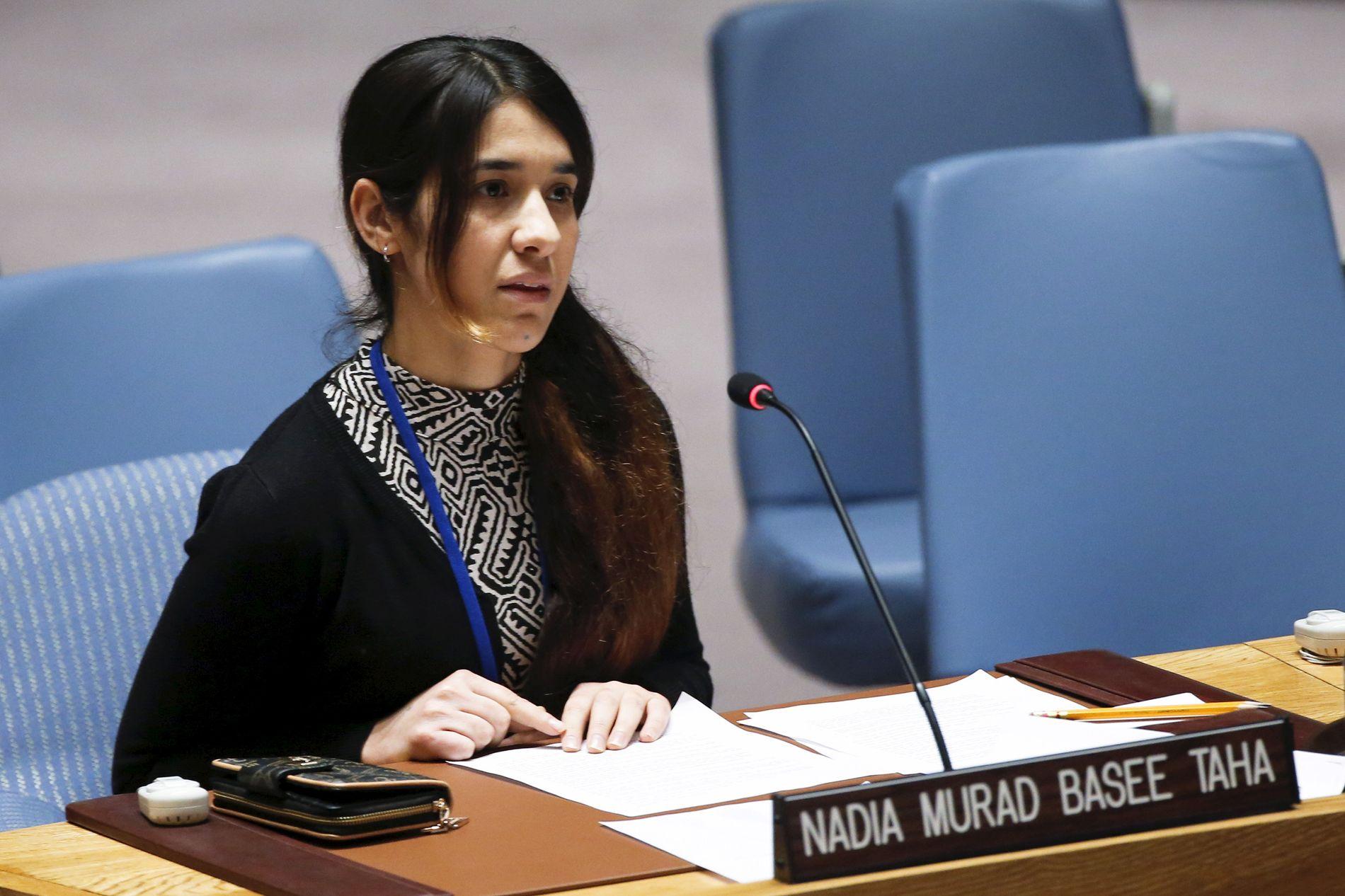 FN-ØYEBLIKKET: 16. desember 2015 talte Nadia Murad for FNs sikkerhetsråd i New York.