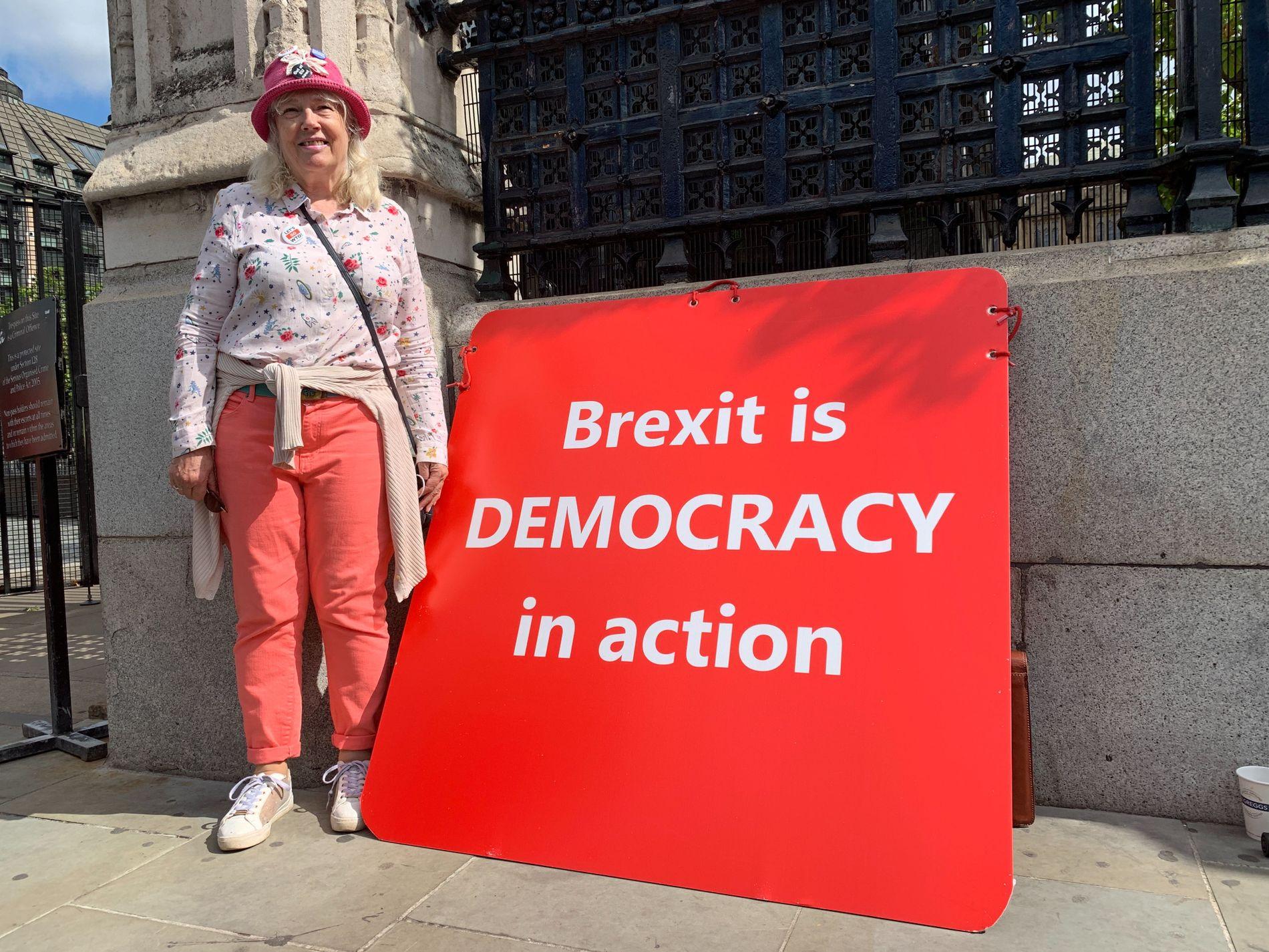 DEMOKRATI: Flere briter har stilt seg utenfor parlamentet for å demonstrere. Her står Christine Forrest med banneret sitt, som har påskriften «Brexit er demokrati i praksis».
