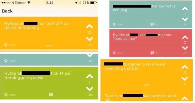 """Her er noen eksempler på """"jodler"""" funnet i Hamar-området onsdag. VG har sladdet personinfo."""