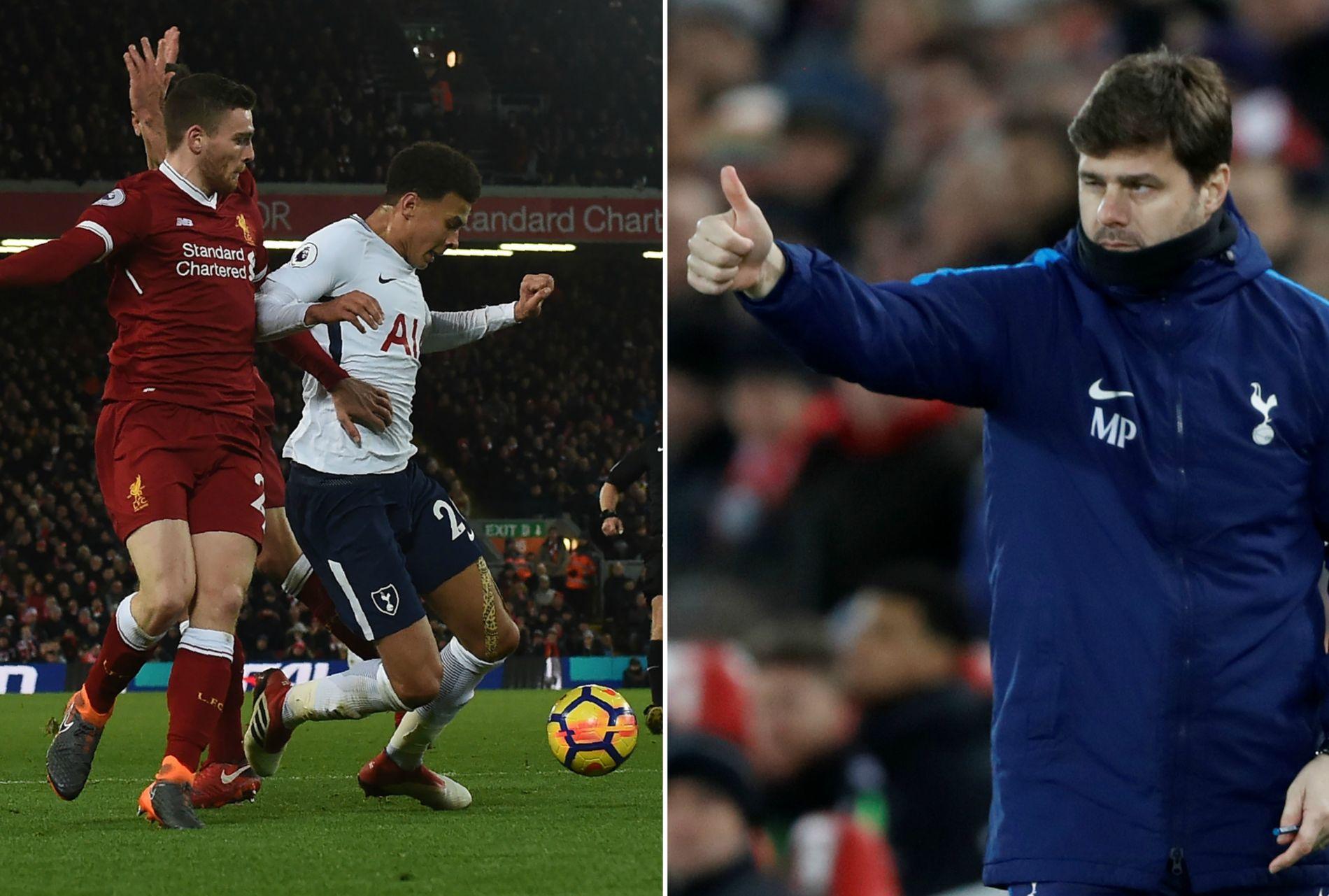 EN DETALJ: Tottenham-manager Mauricio Pochettino mener britisk fotball fokuserer for mye på å slå hardt ned på filmerne. Under søndagens kamp mellom Liverpool og Tottenham fikk Dele Alli gult kort for et teatralsk fall.