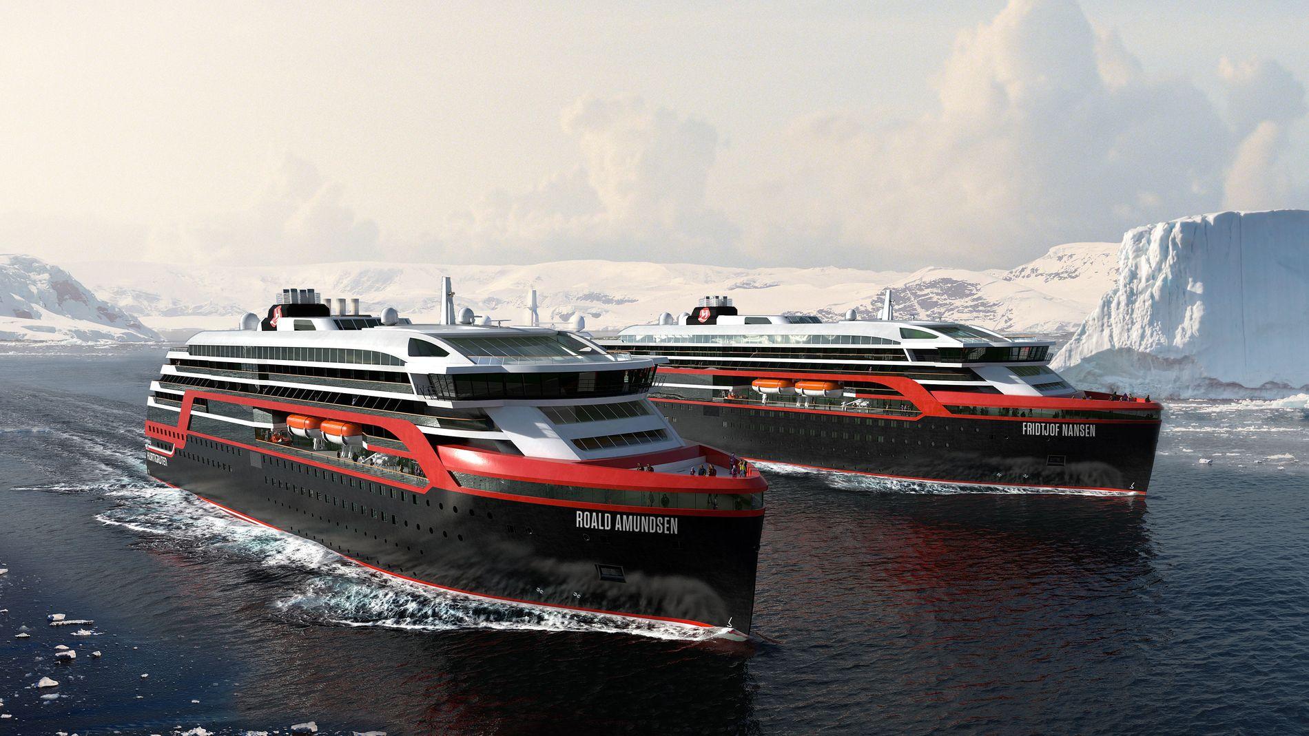 """STORSATSNING: Hurtigrutens nye hybrid-ekspedisjonsskip """"MS Fridtjof Nansen"""" og """"MS Roald Amundsen""""."""