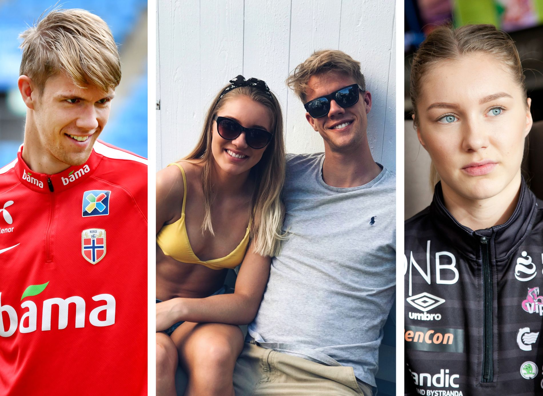 KJÆRESTER: Fotballandslagets midtstopper Kristoffer Ajer (t.v.) og Vipers-spiller Karoline Olsen.
