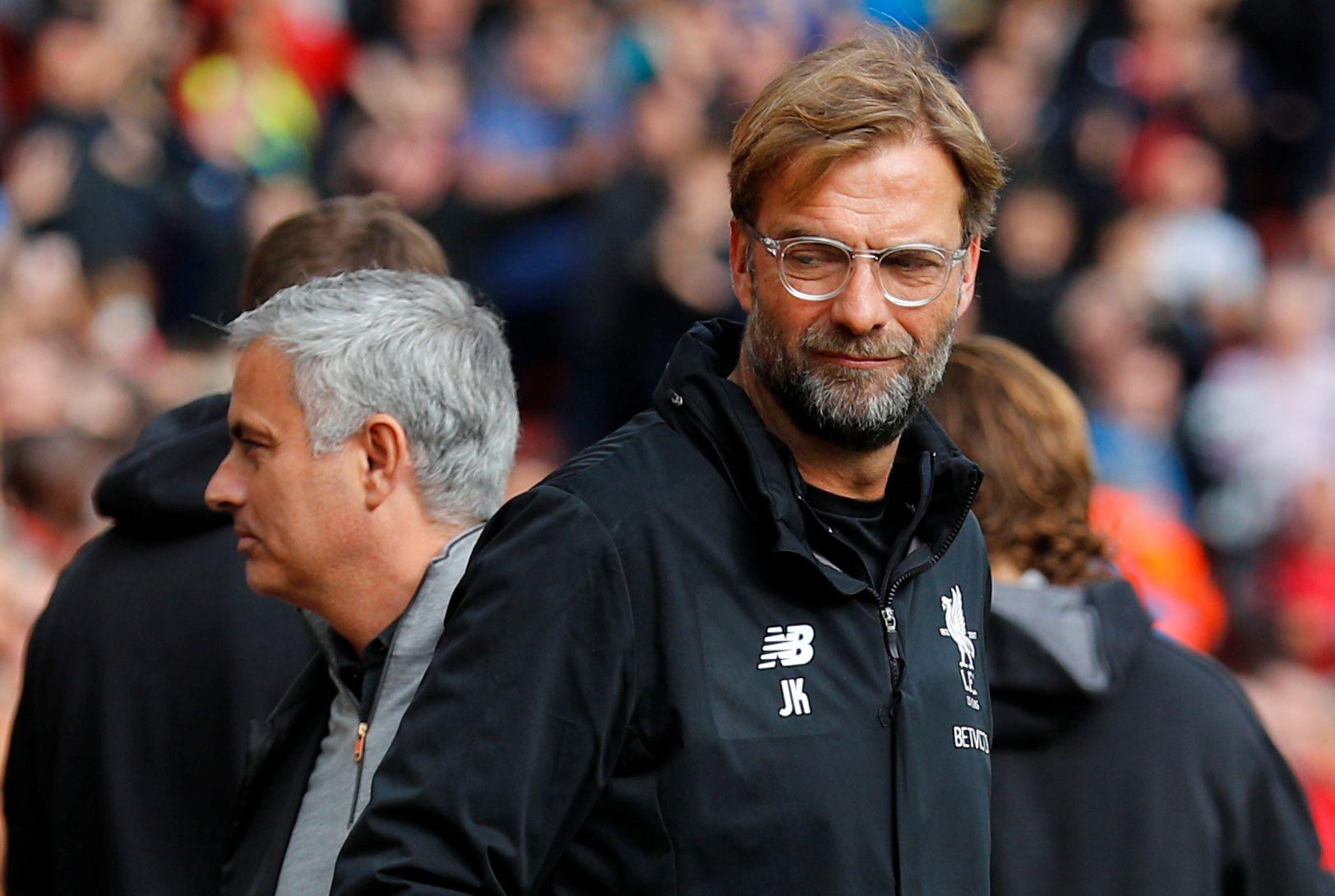 HAR ENDRET MENING: Manchester United-manager José Mourinho er oppgitt over måten Liverpool-sjef Jürgen Klopp har opptrådt på. Foto: NTB scanpix