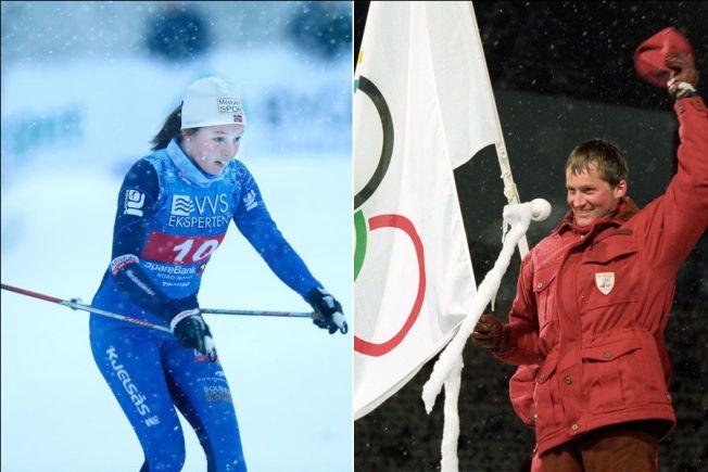 I FARS SKISPOR: Nora Ulvang under NM på ski for snaue to uker siden. Til høyre pappa Vegard Ulvang under åpningsseremonien på Lillehammer i 1994.