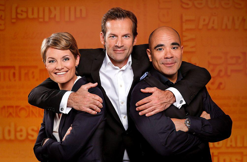 TRIO: Pernille Sørensen, Jon Almaas og Johan Golden I «Nytt på nytt».