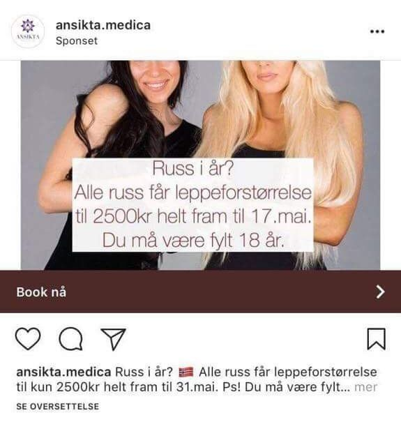 INSTAGRAM-ANNONSE: Den Tromsø-baserte skjønnhetssalongen Ansikta Medica annonserte for rabatterte priser hvis du vil forstørre leppene mens du er russ.