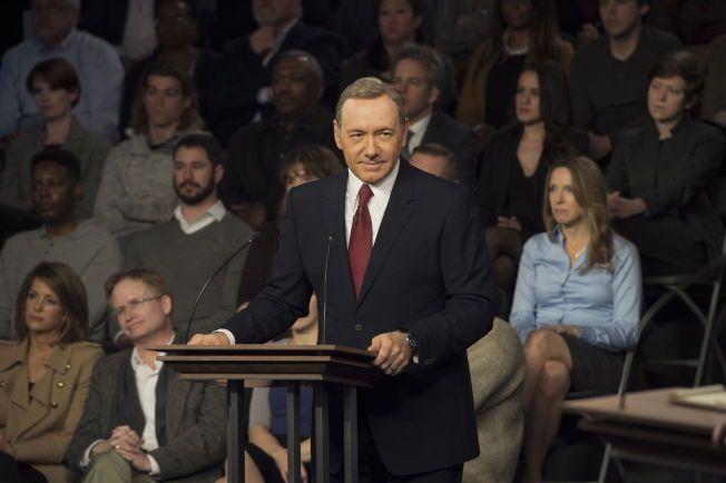 DJEVELSK PRESIDENT: Kevin  Spacey som Frank Underwood i sesong 3 av Netflix' «House of Cards». Underwood har allerede to mord på samvittigheten – hva skjer når han nå er verdens mektigste mann?
