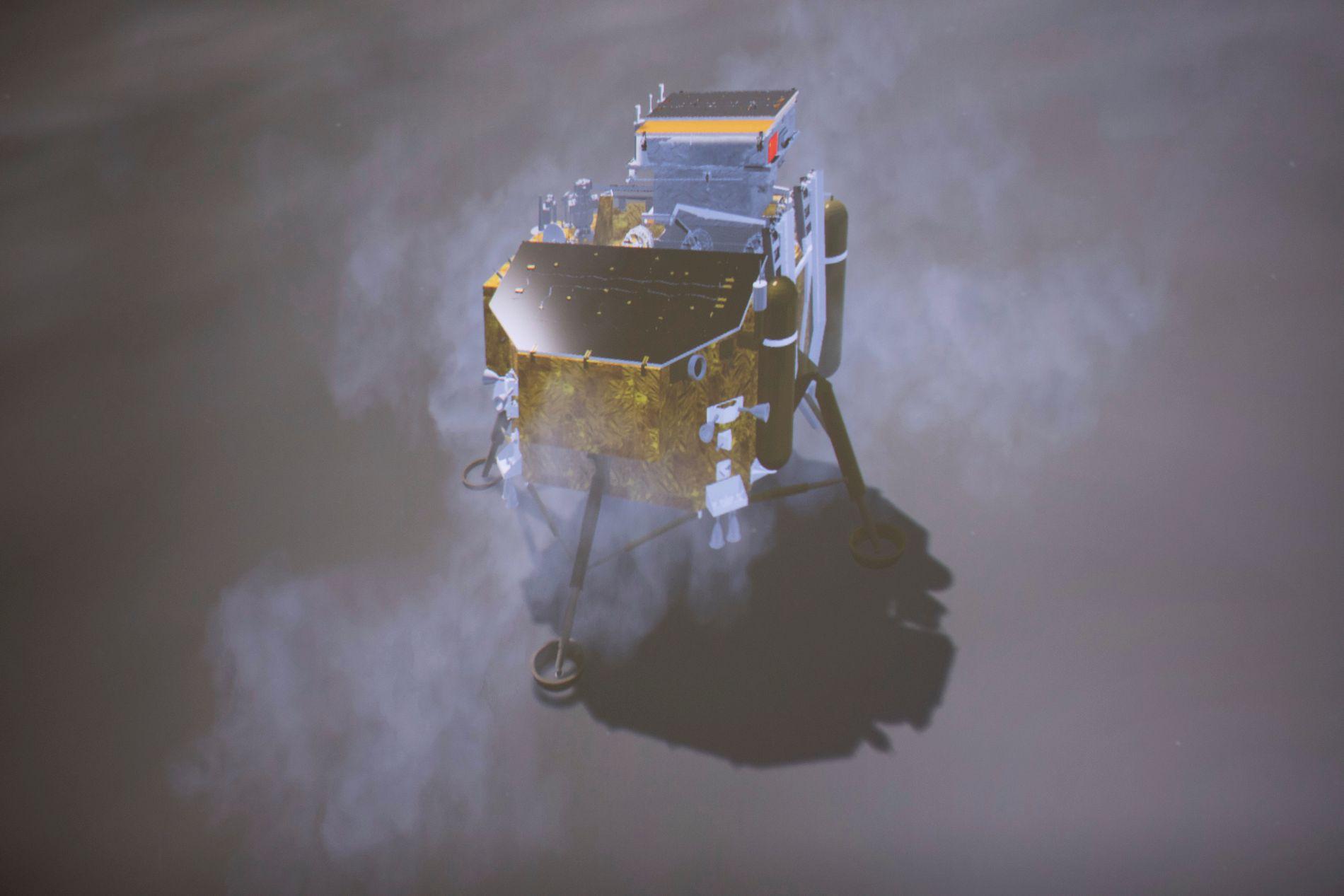 SONDELANDING: Bildet viser en simulert landing av Chang'e-4 sin romsonde, slik den ble sett på monitor ved Beijing Aerospace Control Center i Beijing.