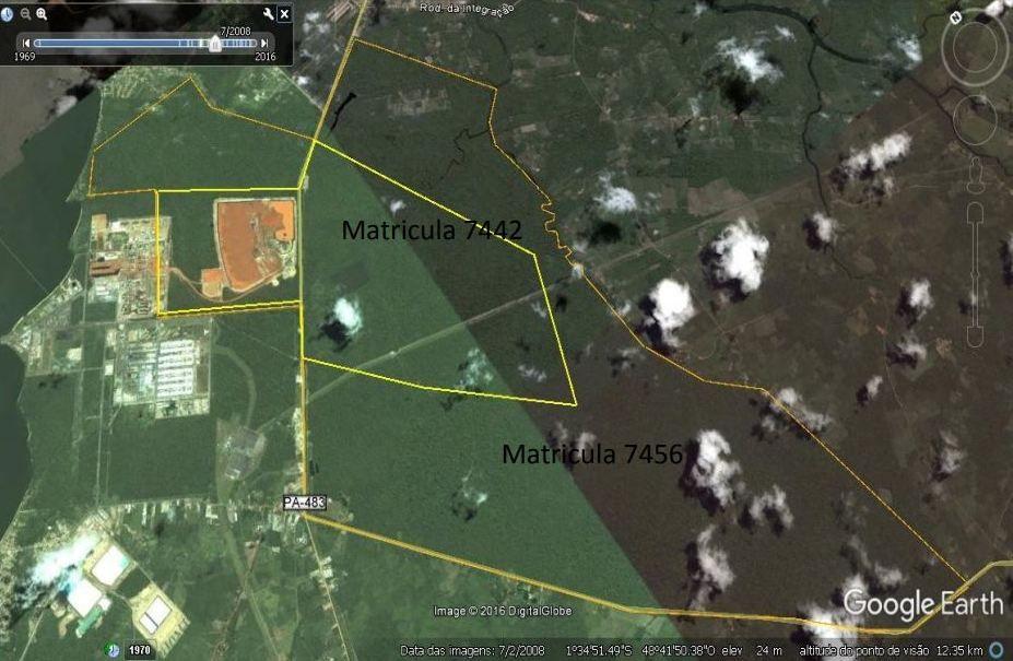 2008: Satellittbilde av Alunorte i 2008 sammen med tomtegrensene fra 1982. Det er tomten «Matricula 7442» som den gang ble klassifisert som et økologisk reservat.